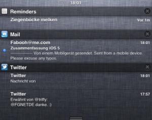 Benachrichtigungen unter iOS 5