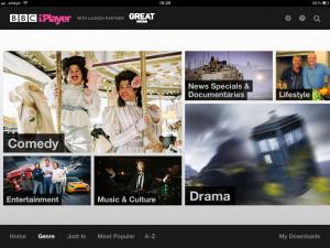 Programmübersicht des BBC iPlayers nach Genre